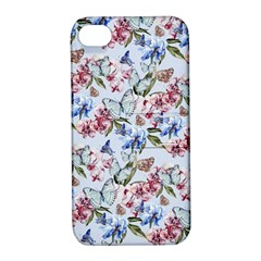 Watercolor Flowers Butterflies Pattern Blue Red Apple Iphone 4/4s Hardshell Case With Stand by EDDArt