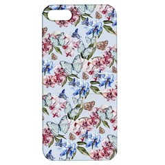 Watercolor Flowers Butterflies Pattern Blue Red Apple Iphone 5 Hardshell Case With Stand by EDDArt