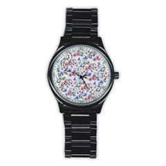 Watercolor Flowers Butterflies Pattern Blue Red Stainless Steel Round Watch by EDDArt