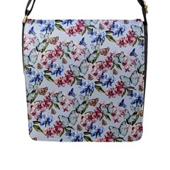 Watercolor Flowers Butterflies Pattern Blue Red Flap Messenger Bag (l)  by EDDArt