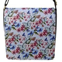 Watercolor Flowers Butterflies Pattern Blue Red Flap Messenger Bag (s) by EDDArt