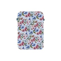 Watercolor Flowers Butterflies Pattern Blue Red Apple Ipad Mini Protective Soft Cases by EDDArt