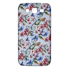 Watercolor Flowers Butterflies Pattern Blue Red Samsung Galaxy Mega 5 8 I9152 Hardshell Case  by EDDArt