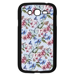 Watercolor Flowers Butterflies Pattern Blue Red Samsung Galaxy Grand Duos I9082 Case (black) by EDDArt