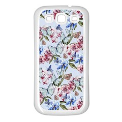 Watercolor Flowers Butterflies Pattern Blue Red Samsung Galaxy S3 Back Case (white) by EDDArt