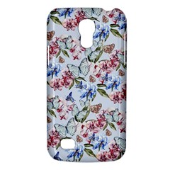 Watercolor Flowers Butterflies Pattern Blue Red Galaxy S4 Mini by EDDArt