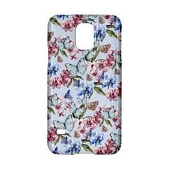 Watercolor Flowers Butterflies Pattern Blue Red Samsung Galaxy S5 Hardshell Case  by EDDArt