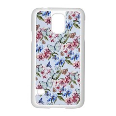 Watercolor Flowers Butterflies Pattern Blue Red Samsung Galaxy S5 Case (white) by EDDArt