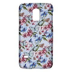Watercolor Flowers Butterflies Pattern Blue Red Galaxy S5 Mini by EDDArt