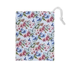 Watercolor Flowers Butterflies Pattern Blue Red Drawstring Pouches (large)  by EDDArt