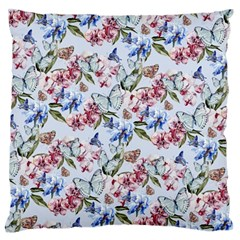 Watercolor Flowers Butterflies Pattern Blue Red Large Flano Cushion Case (two Sides) by EDDArt