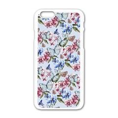Watercolor Flowers Butterflies Pattern Blue Red Apple Iphone 6/6s White Enamel Case by EDDArt