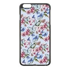 Watercolor Flowers Butterflies Pattern Blue Red Apple Iphone 6 Plus/6s Plus Black Enamel Case by EDDArt