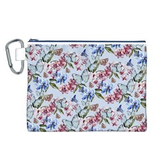Watercolor Flowers Butterflies Pattern Blue Red Canvas Cosmetic Bag (l) by EDDArt