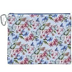 Watercolor Flowers Butterflies Pattern Blue Red Canvas Cosmetic Bag (xxxl) by EDDArt