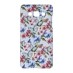 Watercolor Flowers Butterflies Pattern Blue Red Samsung Galaxy A5 Hardshell Case  by EDDArt