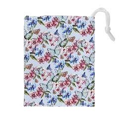 Watercolor Flowers Butterflies Pattern Blue Red Drawstring Pouches (extra Large) by EDDArt