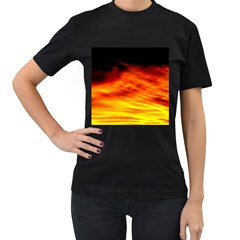Black Yellow Red Sunset Women s T Shirt (black) (two Sided) by Costasonlineshop