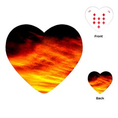 Black Yellow Red Sunset Playing Cards (heart)  by Costasonlineshop