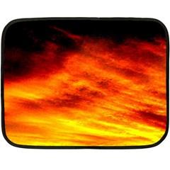 Black Yellow Red Sunset Fleece Blanket (mini) by Costasonlineshop