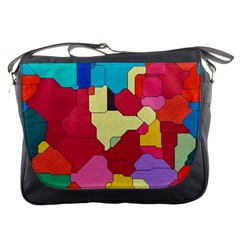 Colorful Leather Pieces             Messenger Bag by LalyLauraFLM
