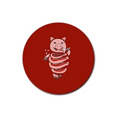 Red Stupid Self Eating Gluttonous Pig Rubber Coaster (round)  by CreaturesStore