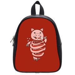 Red Stupid Self Eating Gluttonous Pig School Bags (small)  by CreaturesStore