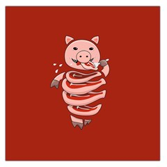 Red Stupid Self Eating Gluttonous Pig Large Satin Scarf (square) by CreaturesStore