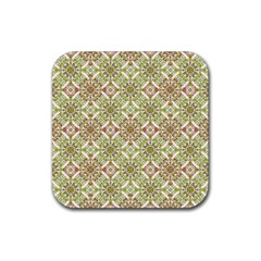 Colorful Stylized Floral Boho Rubber Square Coaster (4 Pack)  by dflcprints