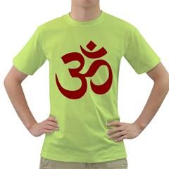 Hindu Om Symbol (Dark Red) Green T-Shirt