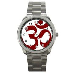 Hindu Om Symbol (dark Red) Sport Metal Watch by abbeyz71