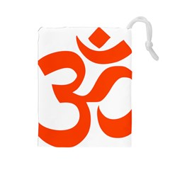 Hindu Om Symbol (orange) Drawstring Pouches (large)  by abbeyz71
