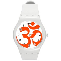 Hindu Om Symbol (orange) Round Plastic Sport Watch (m) by abbeyz71