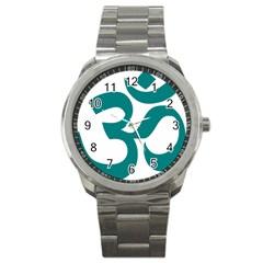 Hindu Om Symbol (teal) Sport Metal Watch by abbeyz71