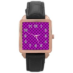 Friendly Retro Pattern G Rose Gold Leather Watch  by MoreColorsinLife