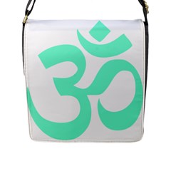 Hindu Om Symbol (cyan Blue) Flap Messenger Bag (l)  by abbeyz71