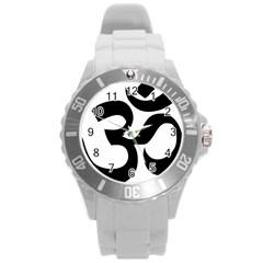Hindu Om Symbol  Round Plastic Sport Watch (l) by abbeyz71