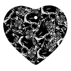 Skulls Pattern Heart Ornament (two Sides) by ValentinaDesign