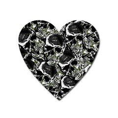 Skulls Pattern Heart Magnet by ValentinaDesign