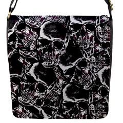 Skulls Pattern Flap Messenger Bag (s) by ValentinaDesign