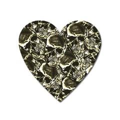 Skull Pattern Heart Magnet by ValentinaDesign