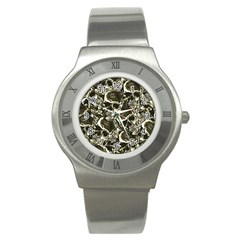 Skull Pattern Stainless Steel Watch by ValentinaDesign