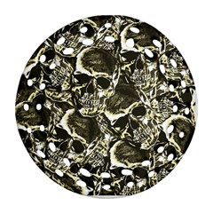 Skull Pattern Ornament (round Filigree) by ValentinaDesign