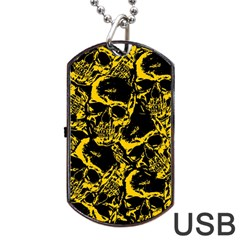 Skull Pattern Dog Tag Usb Flash (two Sides) by ValentinaDesign