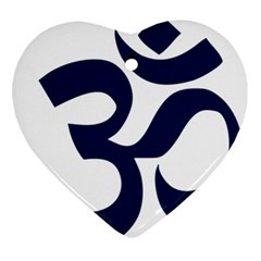 Hindu Om Symbol (dark Blue) Ornament (heart) by abbeyz71