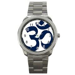 Hindu Om Symbol (dark Blue) Sport Metal Watch by abbeyz71