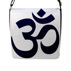 Hindu Om Symbol (dark Blue) Flap Messenger Bag (l)  by abbeyz71