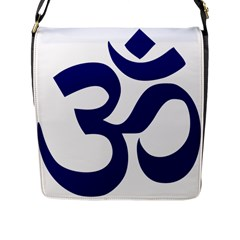 Om Symbol (midnight Blue) Flap Messenger Bag (l)  by abbeyz71