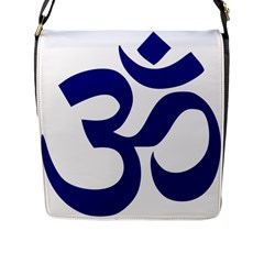Om Symbol (navy Blue) Flap Messenger Bag (l)  by abbeyz71