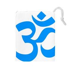 Hindu Om Symbol (ocean Blue) Drawstring Pouches (large)  by abbeyz71